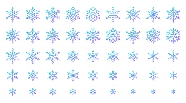 Snowflake icons set, cold ice crystal winter snow, gdradient line sixpointed star.