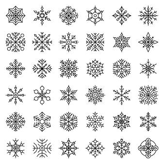 Snowflake icons set, outline style