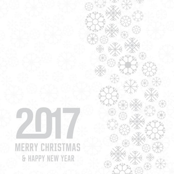 Snowflake merry christmas 2017 and new year lettering on white holiday background