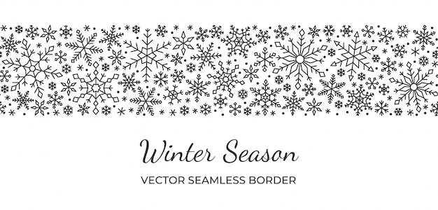 Snowflake seamless border, christmas, new year, winter snow pattern, line on white background.