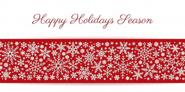 Snowflake seamless border white line on red background, christmas, new year, winter snow pattern.