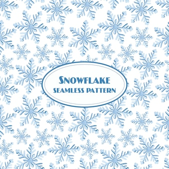 Snowflake seamless pattern watercolor on white background