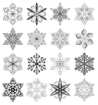 Snowflake set, black ornaments isolated on white background