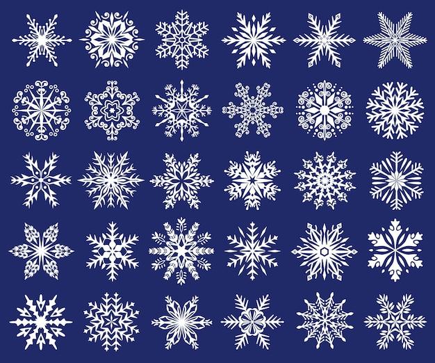 スノーフレークシルエットクリスマスアイスフレークアイコン冷凍クリスタル装飾品ベクトルセット