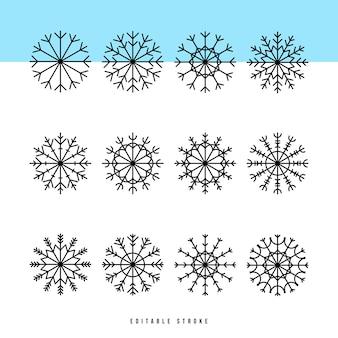 スノーフレーク細い線のアイコンを設定します。雪の概要webサインキット。結晶、六角形、氷、雪に覆われたパターンとして冬線形アイコンコレクション。塗りなしの編集可能なストローク。