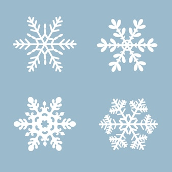 Snowflake vector icon set white color. winter blue christmas snow flat crystal element.