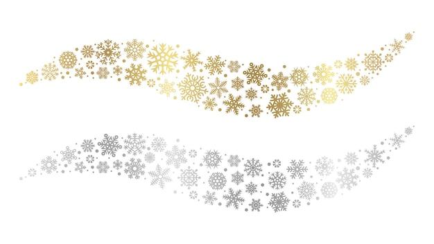 눈송이 파도. 골드 실버 눈송이 벡터 요소. 크리스마스 눈 디자인. 겨울 축제 장식 눈송이 은색과 황금색 그림