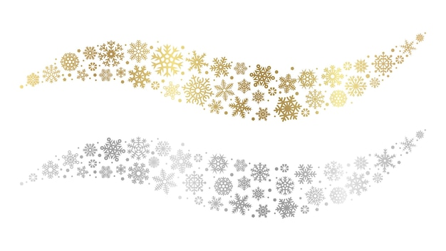 Snowflake waves. gold silver snowflakes vector element. christmas snow design. winter festive decoration snowflake silver and golden illustration