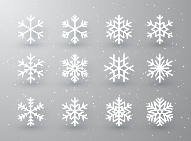 Snowflake winter set of white isolated icon silhouette on white gray background.