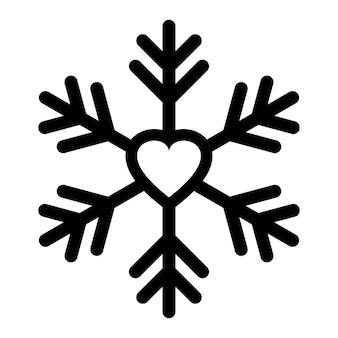 ハートのアイコンのロゴが付いたスノーフレーク。クリスマスベクトル雪のシンボル