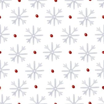 赤い水玉の水彩画のシームレスなパターンとスノーフレーク