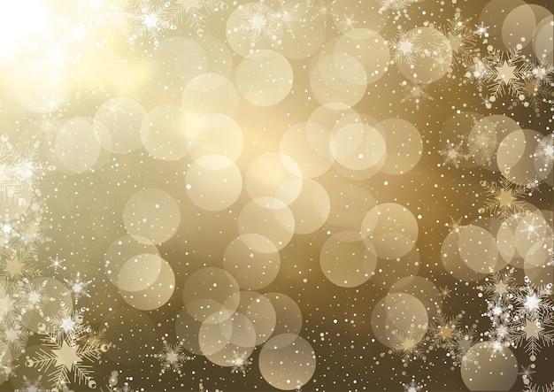 Снежинки и золотой боке огни фон