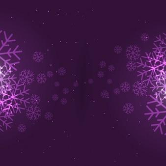 紫で雪片の背景