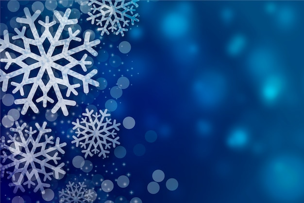 Snowflakes background with bokeh copy space