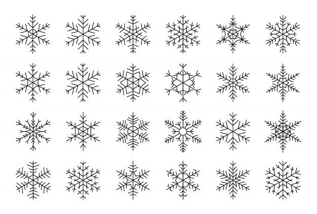 Снежинки черные линии установлены. различные формы контура зимой ледяной кристалл. символ орнамента рождества декоративный шаблон снега для события информационной карты на новый год. изолированные на белом иллюстрации