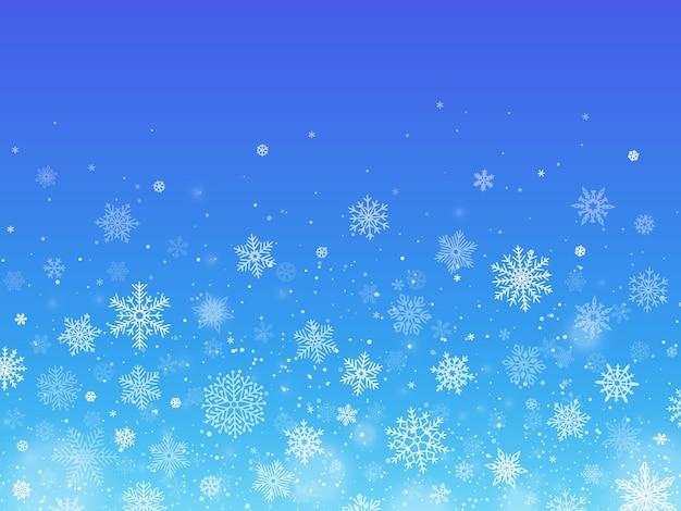 雪片の青い背景。冬の雪が降る。挨拶や招待状のクリスマスホリデーデコレーション。さまざまな形やサイズのフレーク新年テンプレートベクトル図
