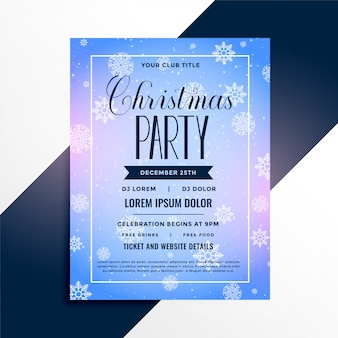 Snowflakes christmas event party flyer template