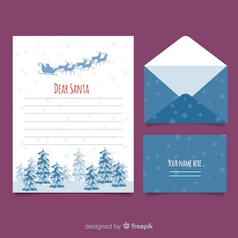 Snowflakes christmas letter template