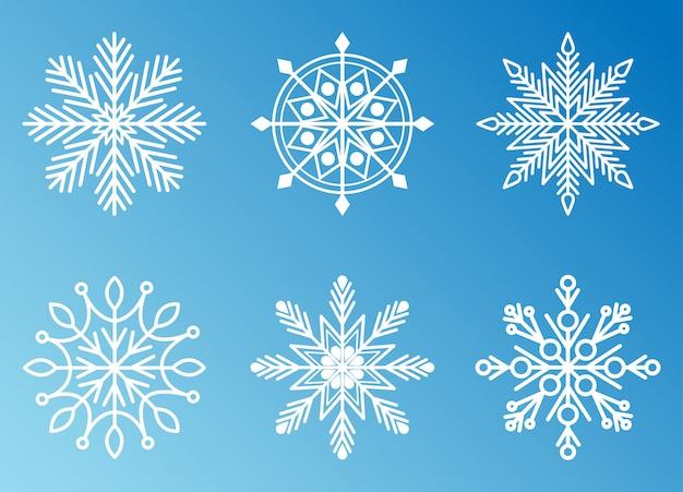 Коллекция снежинок для дизайна рождество и новый год