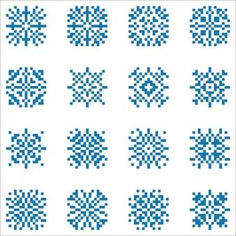 Collezione fiocchi di neve fatto con i pixel