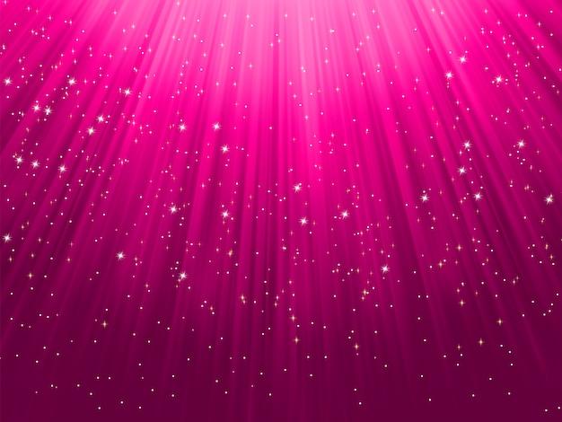 Snowflakes descending on purple light.