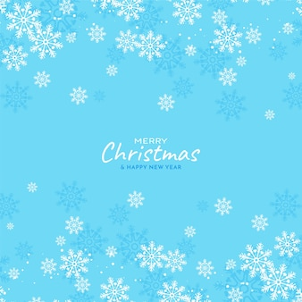 Snowflakes flowing merry christmas soft blue background