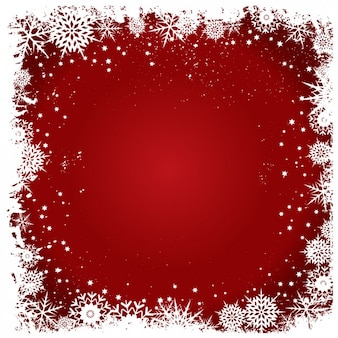 Snowflakes frame on a red background