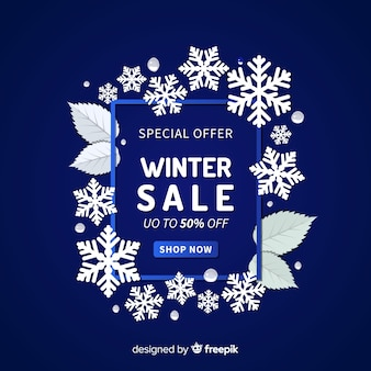 Snowflakes frame winter sale background