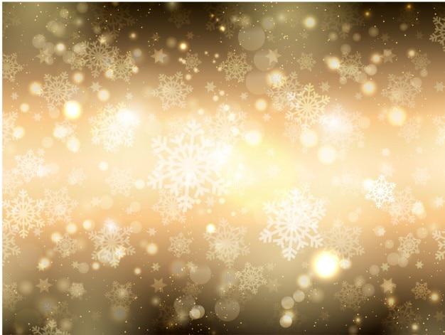 Снежинки фон боке золотой