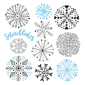 Snowflakes hand drawn vector collection. winter isolated decoration for christmas and new year design