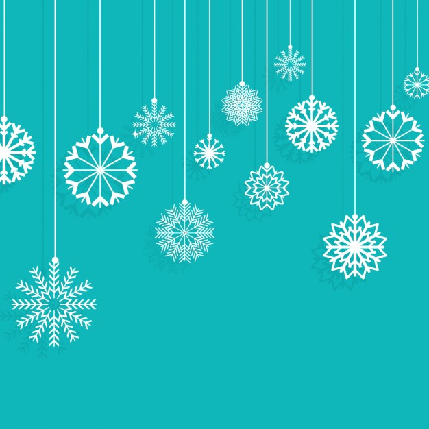 Snowflakes hanging on a turquoise background