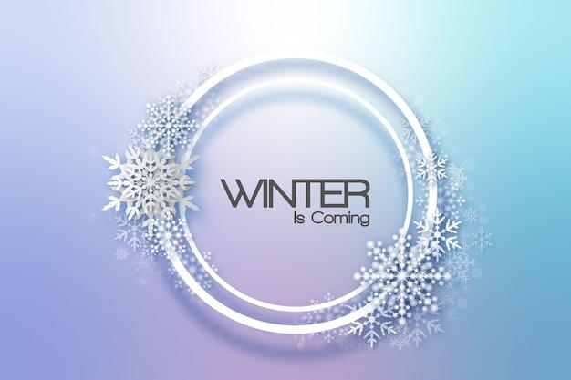 눈송이 휴가 프레임. 웹, 배너, 초대장, 전단지 등을위한 겨울 휴가 카드. 크리스마스 배경입니다.
