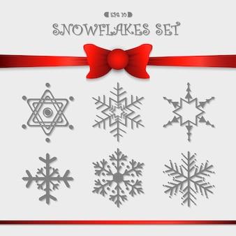 Snowflakes icon set design for christmas background work