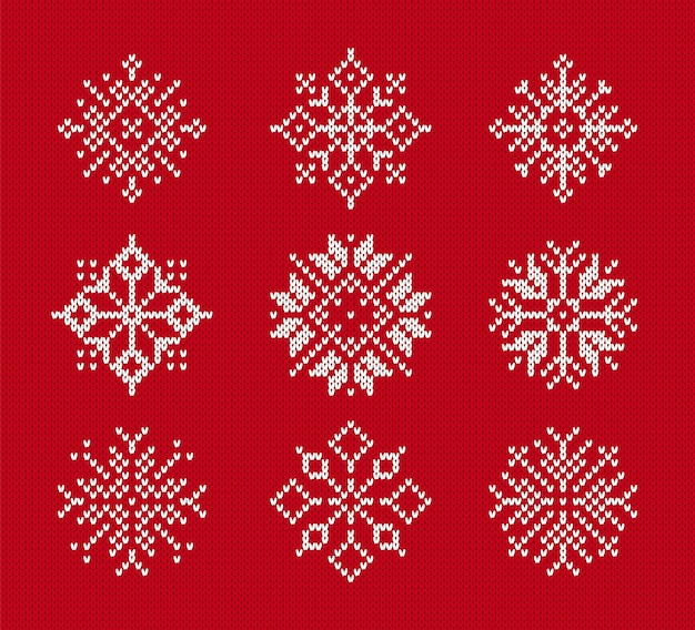 Snowflakes on knitted pattern. set of christmas winter symbols