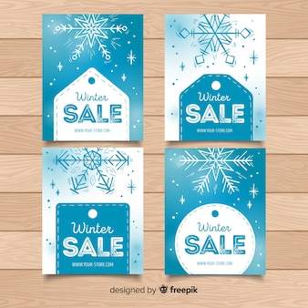 Snowflakes and labels winter sale card collection