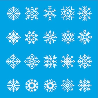 Snowflakes line icon set