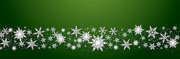 Снежинки роскошный узор на зеленом фоне. современный дизайн для рождества, зимы или новогоднего справочного материала, абстрактное украшение снежинки для поздравительной открытки, распродажа баннер