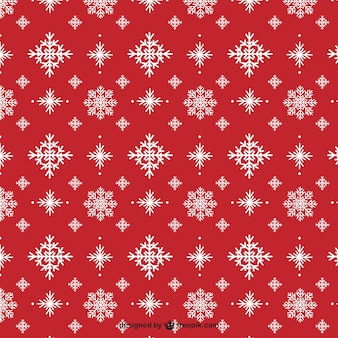 Snowflakes on a red background pattern