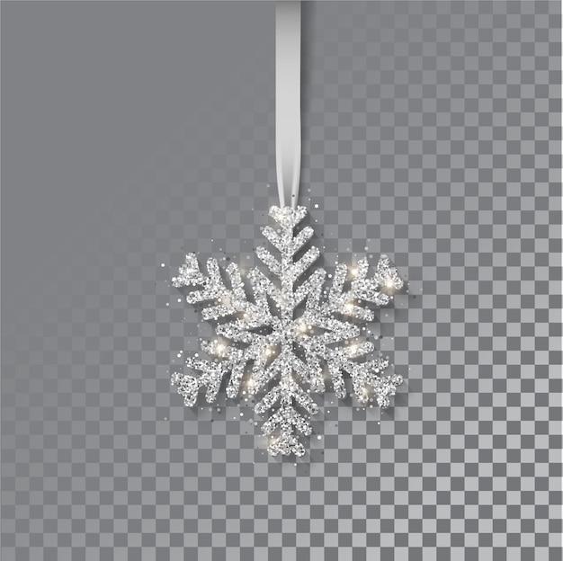 Снежинки на ленте. открытка, приглашение с новым годом и рождеством. металлическая серебряная новогодняя снежинка, украшение, мерцание, блестящее конфетти.