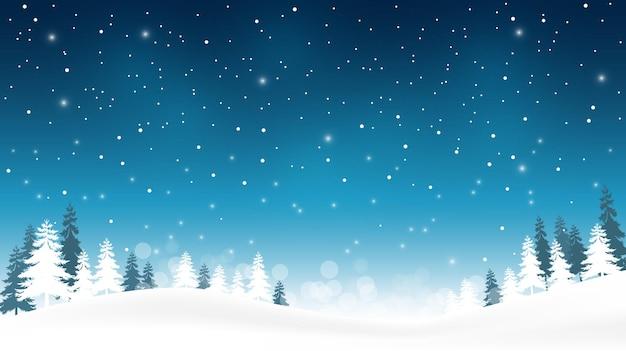クリスマスと新年あけましておめでとうございますのお祝いパーティーの青い背景に雪片