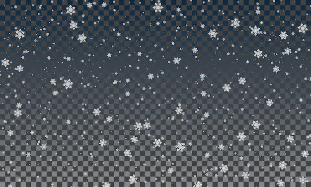 透明な背景に雪片。雪が降る。