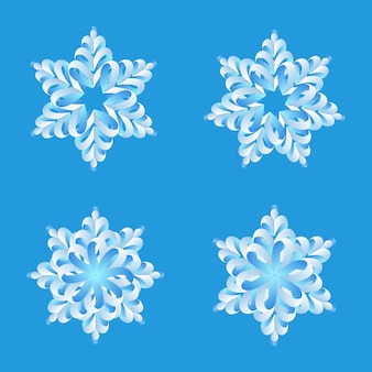 Snowflakes origami  collection. merry christmas and happy new year decoration elements.