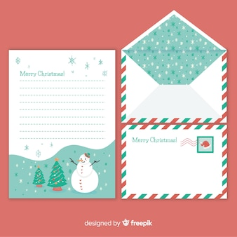 Snowflakes pattern christmas letter and envelope