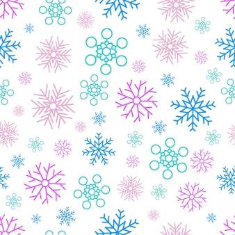 눈송이 원활한 배경. 크리스마스와 새 해 장식 요소입니다. 벡터 일러스트 레이 션.