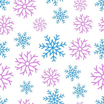雪片のシームレスな背景。クリスマスと新年の装飾要素。ベクトルイラスト。