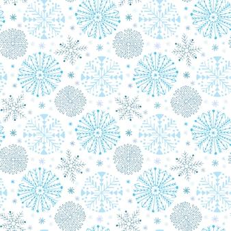 スノーフレークシームレスパターン。冬の背景装飾。クリスマスと新年のデザインラッピングペーパーのデザイン。