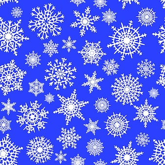 Snowflakes seamless pattern, winter vector background