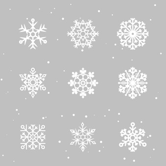 Snowflakes set. many white cold flake elements. white snowflakes flying in the air. snow flakes
