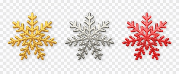 雪片セット。キラキラテクスチャが分離された輝く金、銀、赤の雪片