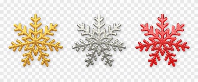 Набор снежинок. сверкающие золотые, серебряные и красные снежинки с блестящей текстурой изолированы